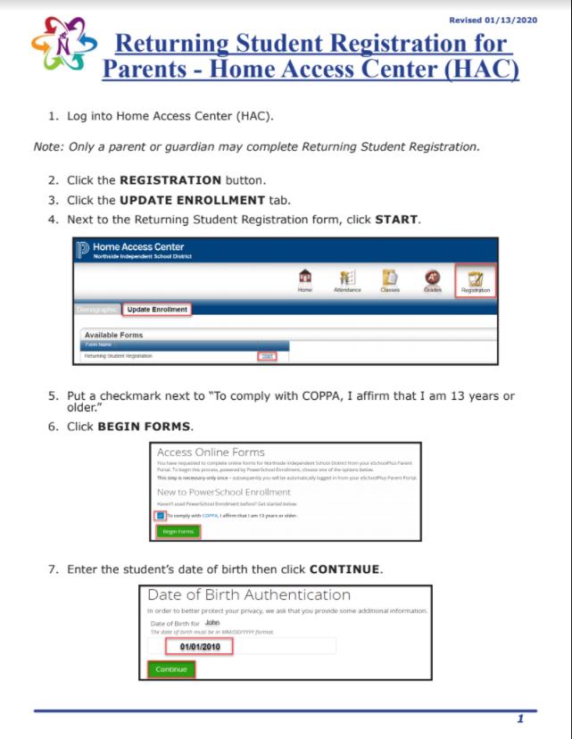 Nisd Calendar 2022.Returning Students Registration For Parents Hac Driggers Elementary School Northside Independent School District