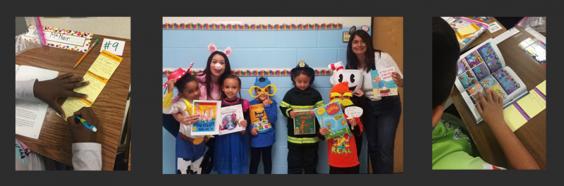Students doing classwork and participating in character book parade