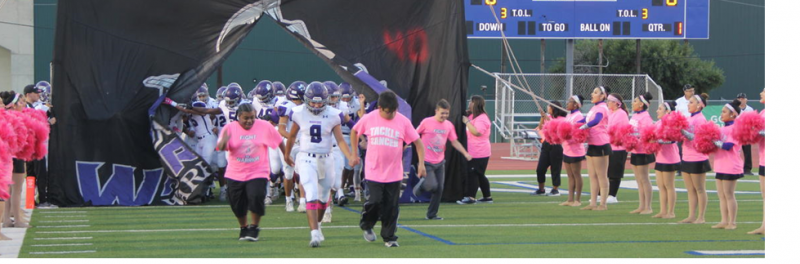 Pink Out Football Game pic with special friends leading the way.