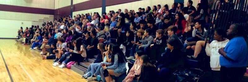 Students and parents gather in the RMS gym for basketball games