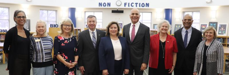 Board of Trustees, Principal Cabico, and Chief Justice Wallace gathered in the Jefferson MS Library