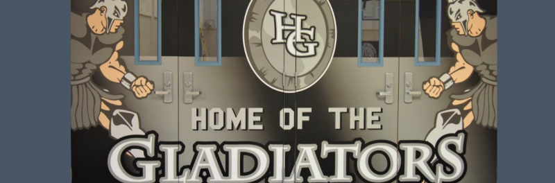 Gym Doors With Gladiator Logos