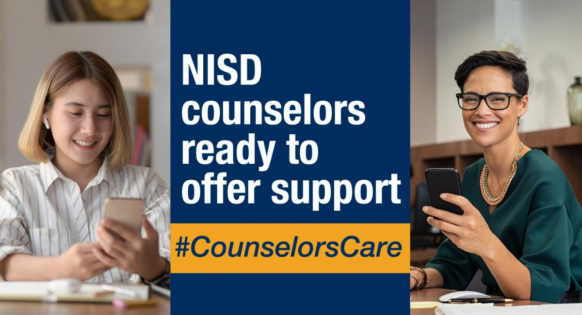 NISD counselors ready to offer support with student and teacher on phone pictures