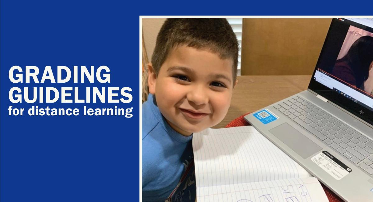 Grading guidelines for distance learning with young boy at computer