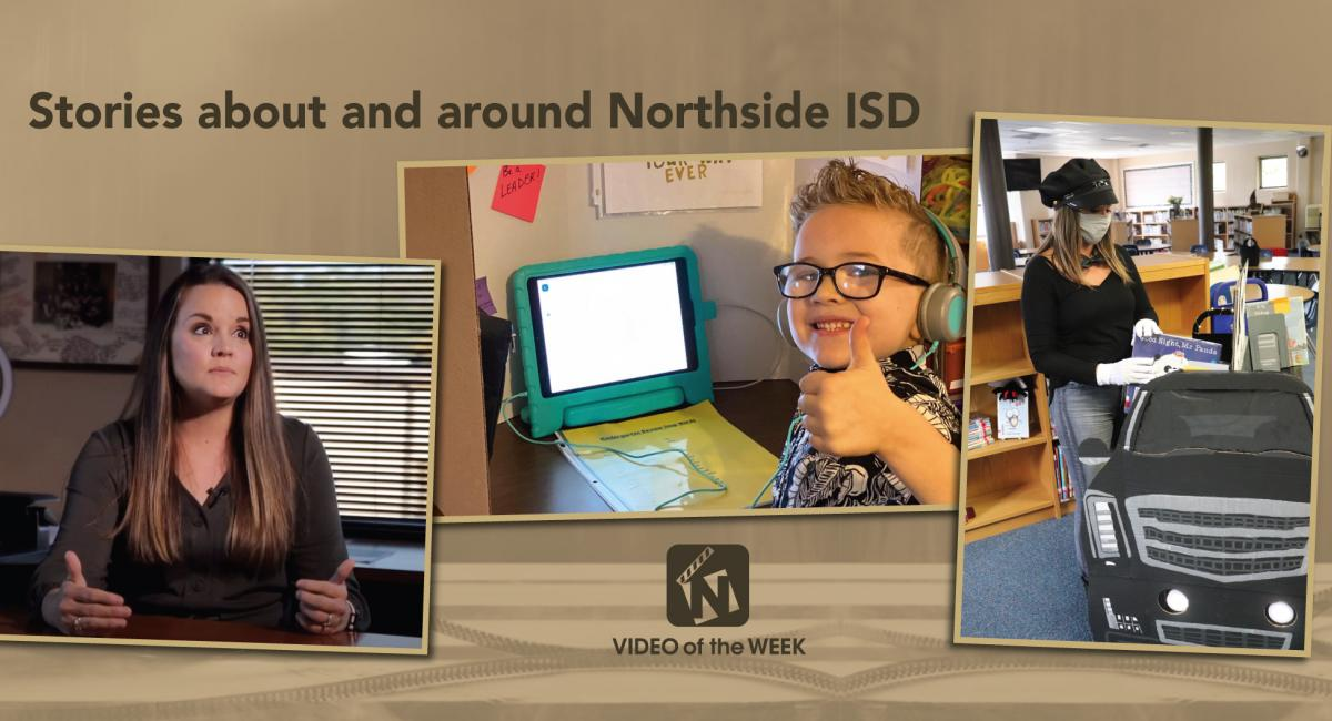 Stories about and around Northside ISD with three pictures. lady at desk, kid at a computer, librarian at cardboard limo