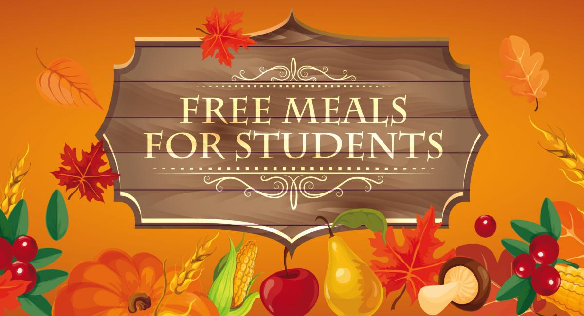 Free meals for students on orange background with pictures of fruit and vegetables and fall leaves