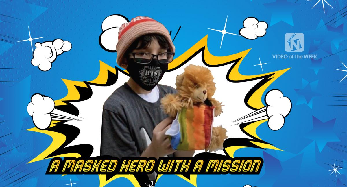 A masked hero with a mission with student picture with mask that he  made and a comic book type background