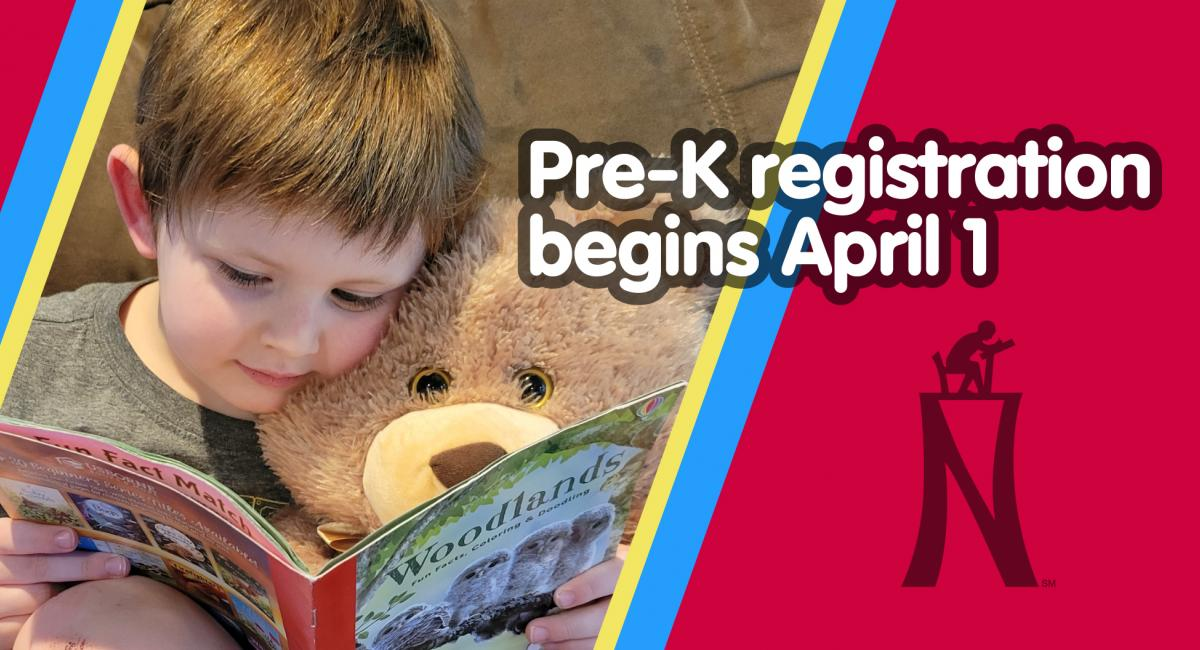 Pre-K registration begins April 1 with picture of young kid reading to a stuffed bear