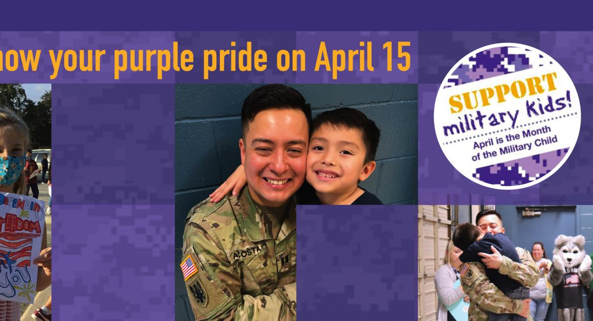 Show your purple pride on April 15 with pictures of military families and children