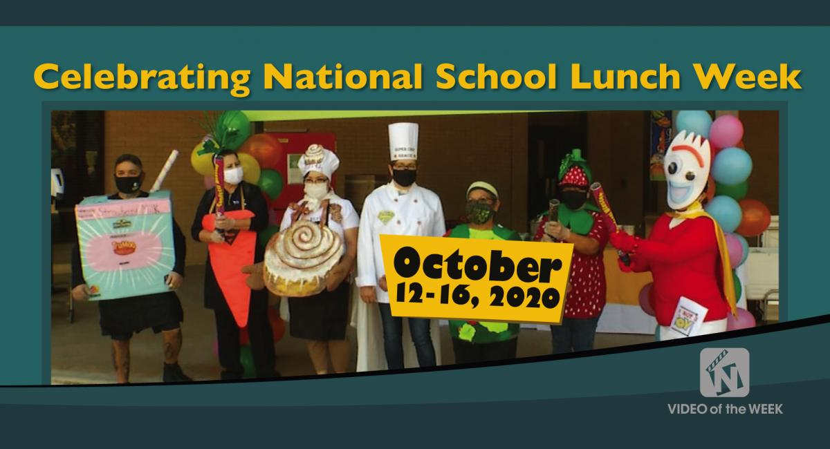 Celebrating National School Week with cafeteria workers in costumes