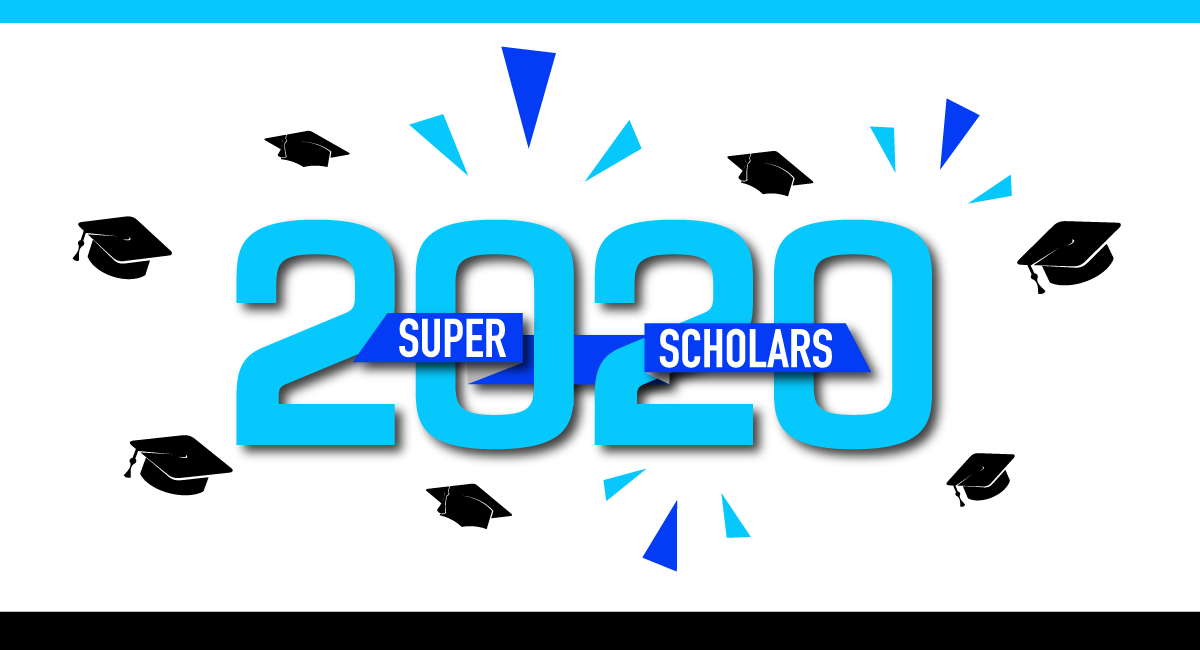 Super Scholars 2020 with grad caps