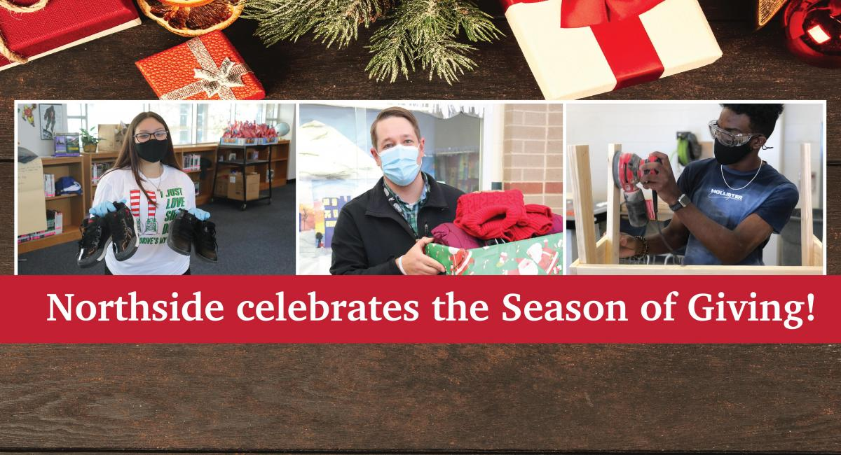 Season of Giving text with pics of students and staff holiday service projects
