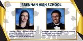 photo collage featuring pics of Brennan HS Valedictorian and Salutatorian