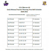 CCA/Warren HS Early Release/Teacher Planning Time Bell Schedule 2020-2021