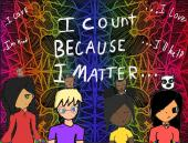 I count because I matter artwork with four students and dark, artsy background