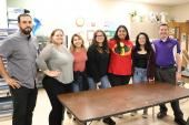Pictured are art teacher Christopher Suniga, students Harmony Smith, Olivia Salinas, Leyla Unlu, Katrina Macias, Alanna Garza, and art teacher Christopher Warnagiris.